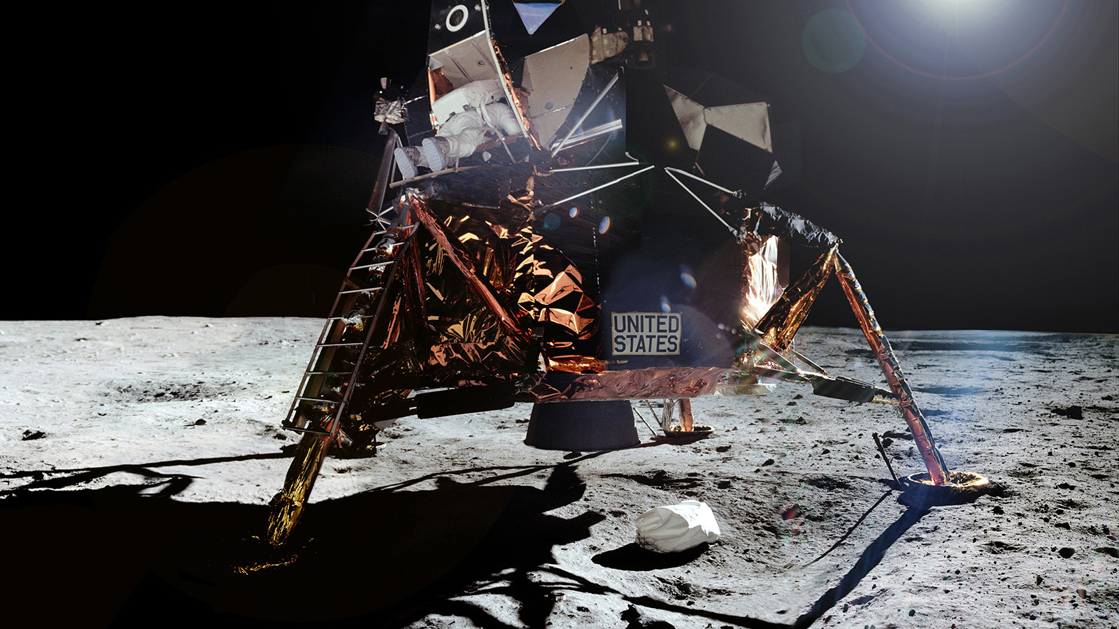Composite image showing the Apollo 11 command module on the Moon.