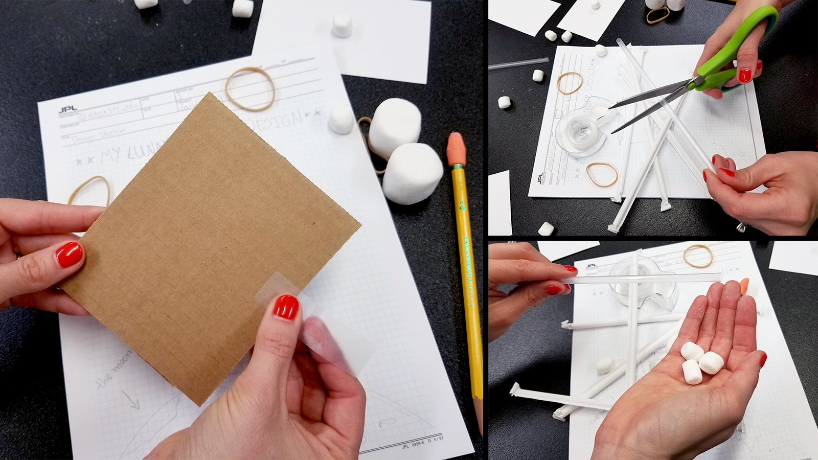 Collage of images showing a person adding tape to a piece of cardboard, cutting a straw with scissors and holding marshmallows