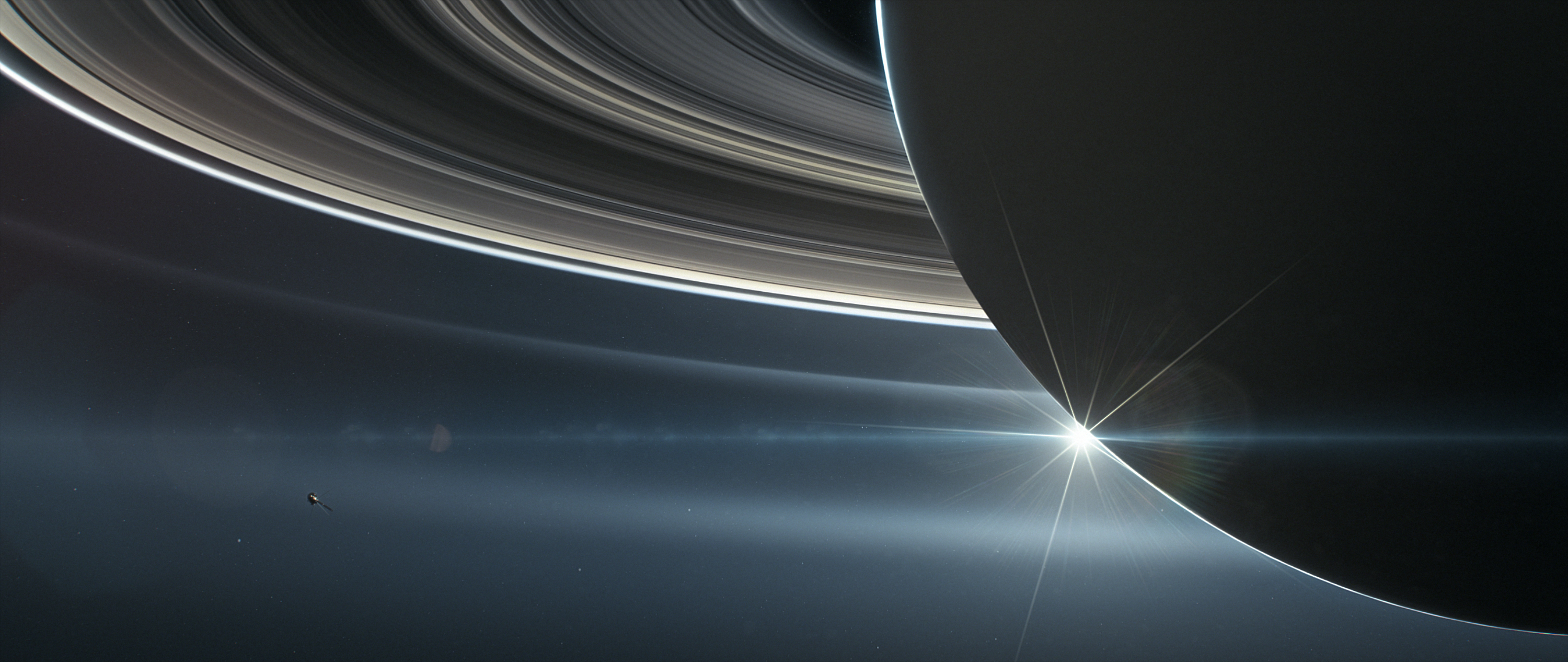 Artists rendering of Saturn backlit by the sun