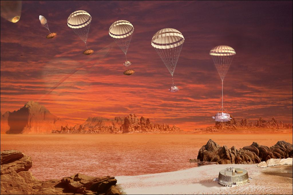 Illustration of the Huygens Probe's descent on Titan