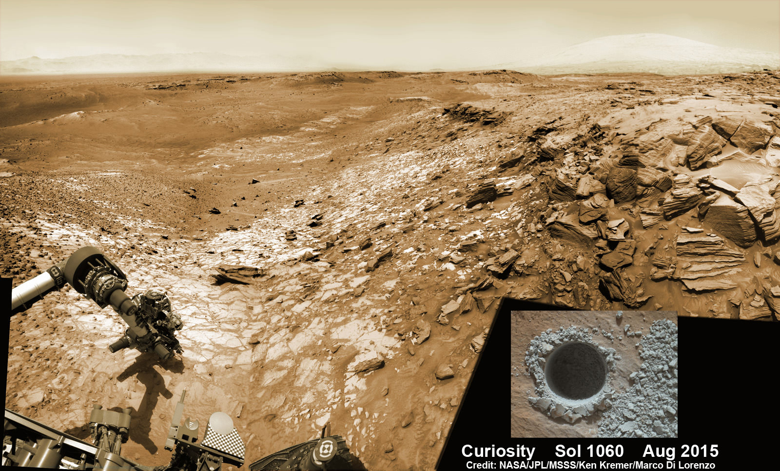 Image of Curiosity's robotic arm drilling at