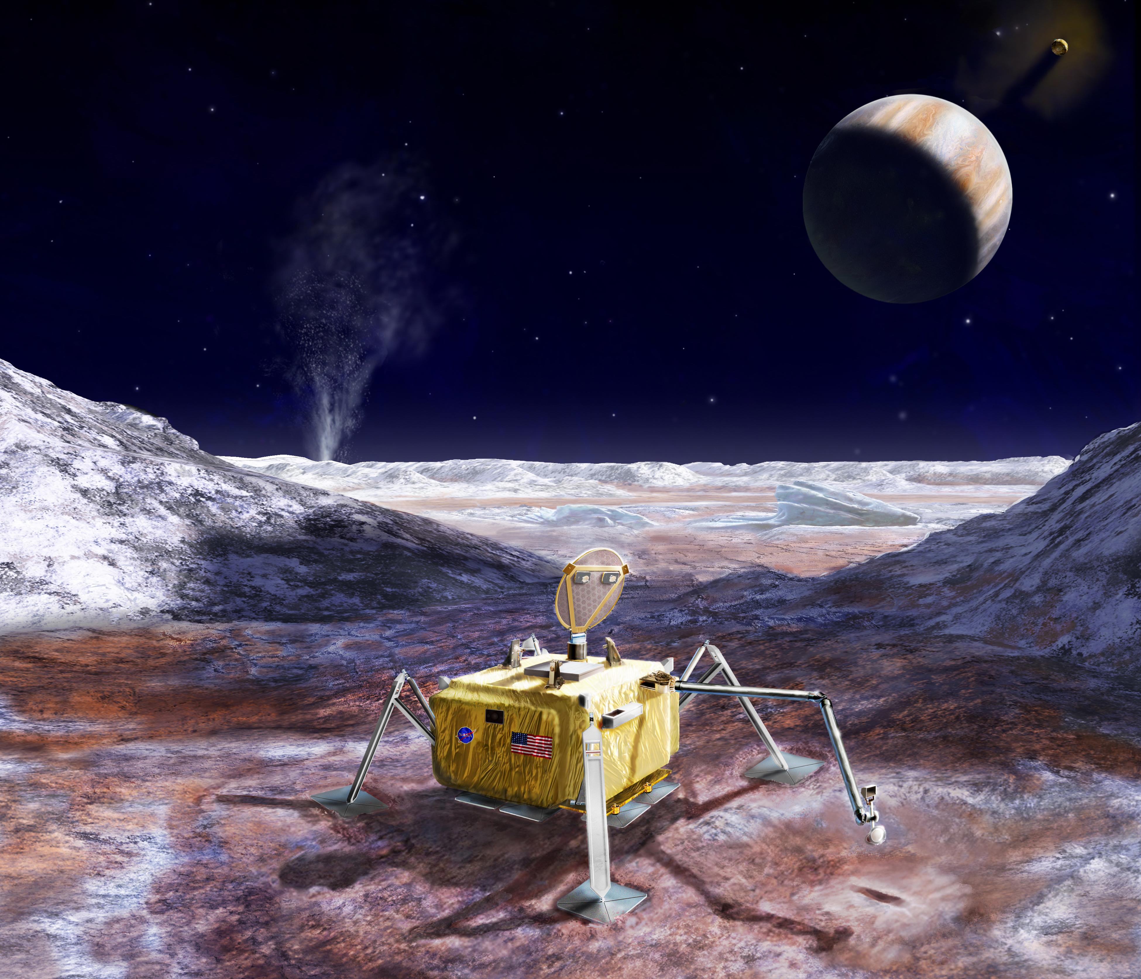 Illustration of a conceptual lander for Jupiter's moon Europa