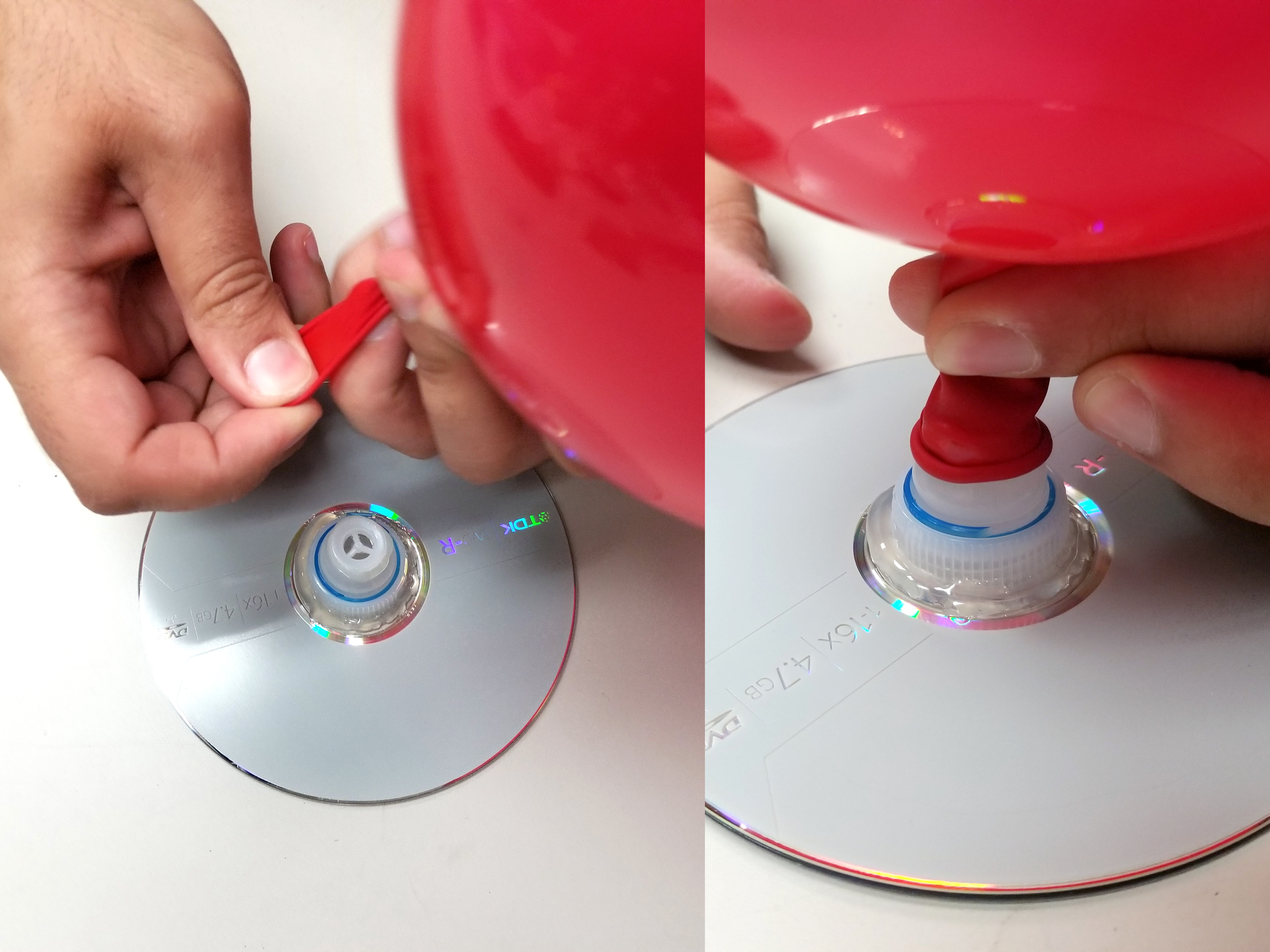 Attaching balloon to water bottle top