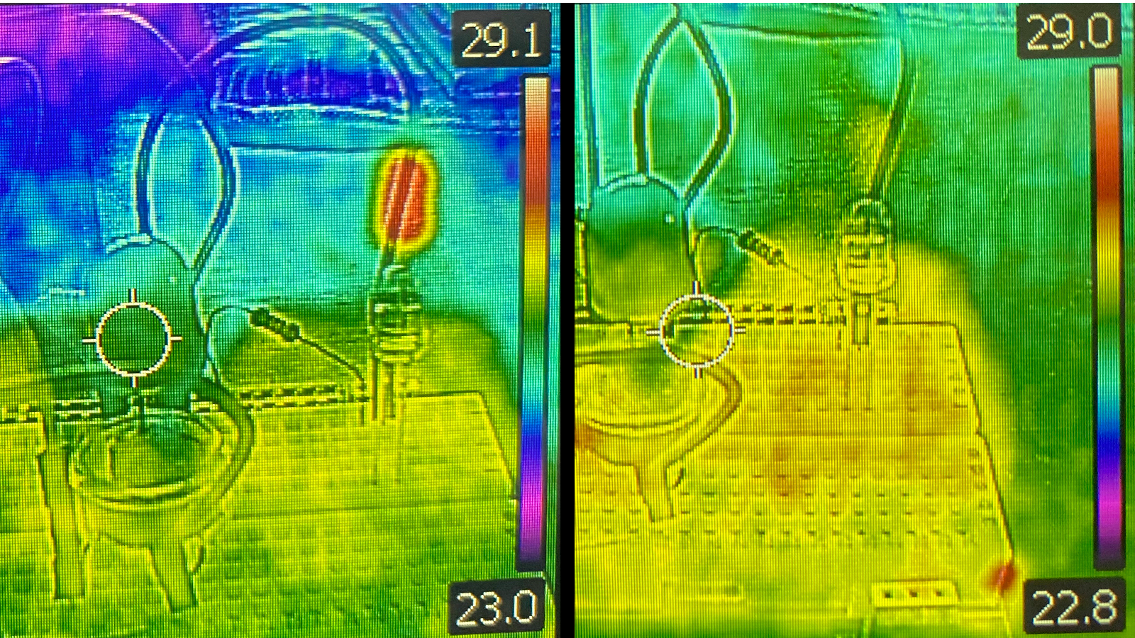 Side by side images show an IR camera view of the light detector. In one, the LED is off and the image appears mostly green and yellow. In the other image, one LED is turned on, which appears bright red and white in the IR camera.