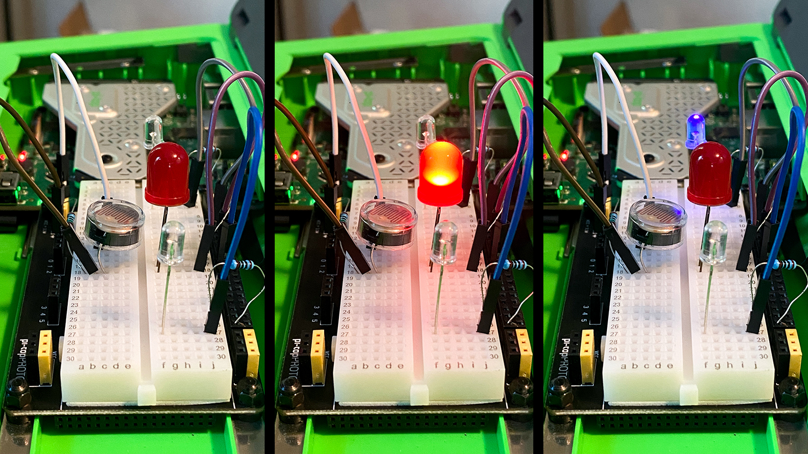 A collage of images showing various led lights connected to a breadboard lighting up.
