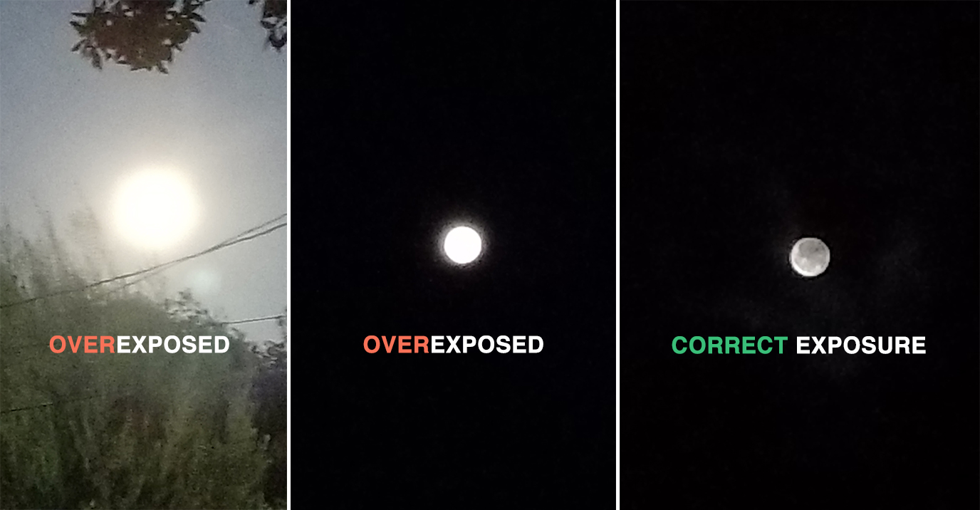 Examples of various Moon photograph exposures