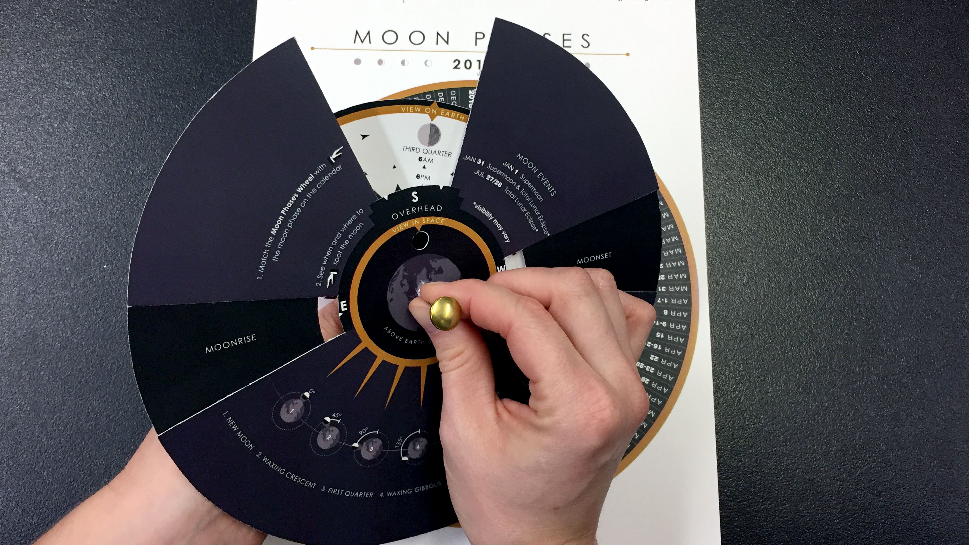 Stacking the Viewing Wheel on top of the Moon Phases Wheel and then both of those on the Calendar wheel and placing a brass fastener through the guide hole.