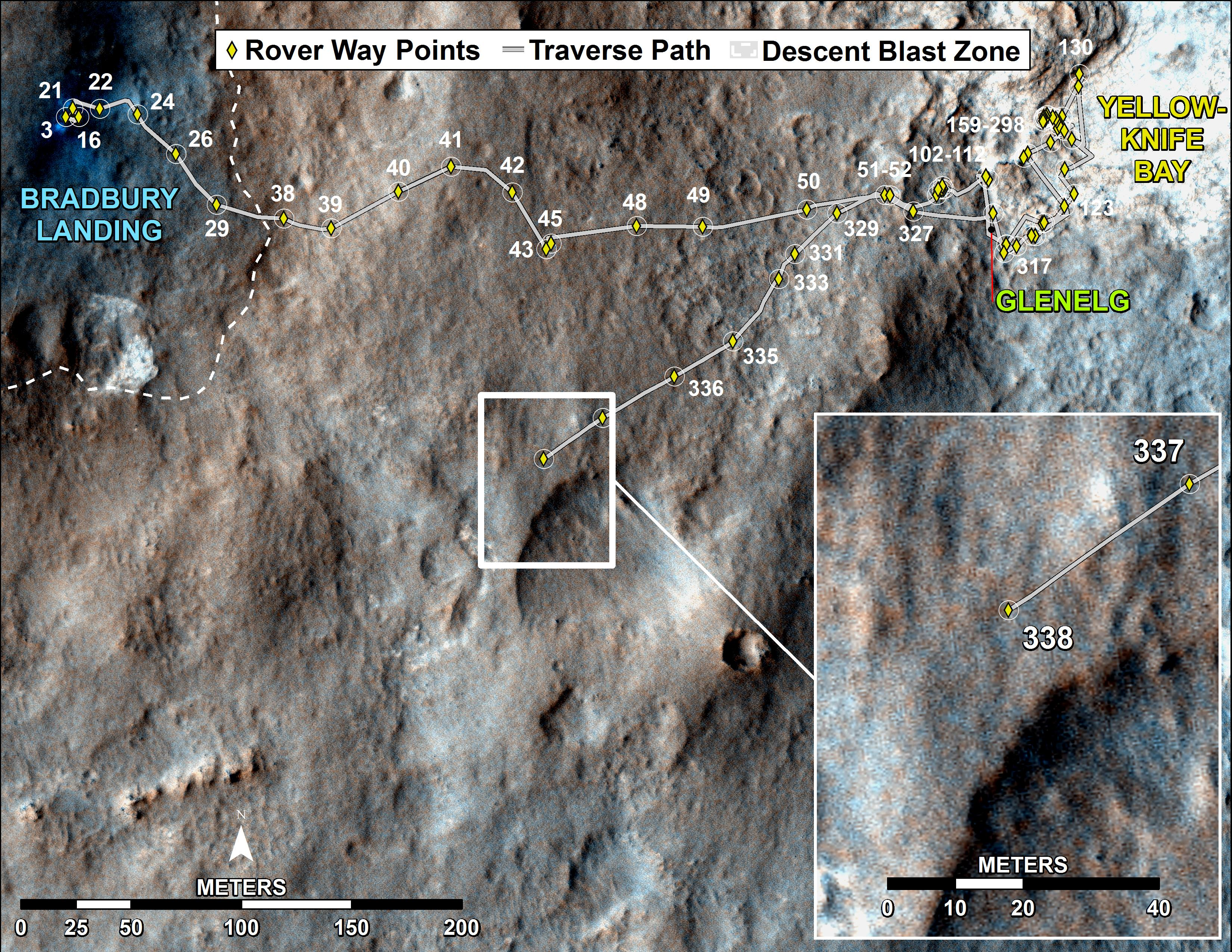 route driven by NASA's Mars rover Curiosity through its 338 Martian day, or sol, on Mars