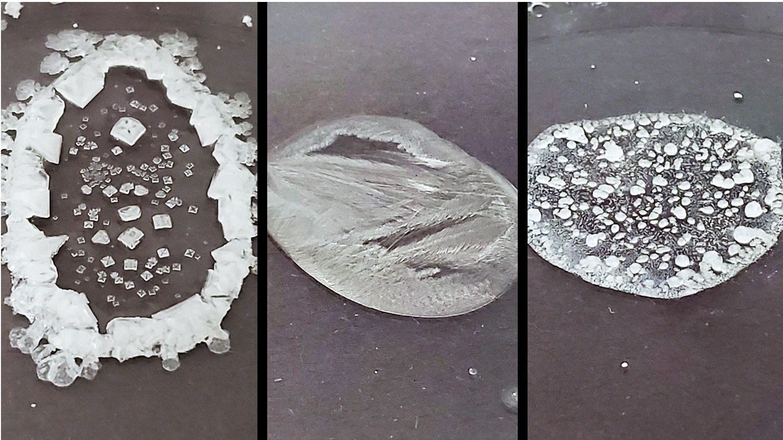 Three images showing examples of dried solutions.