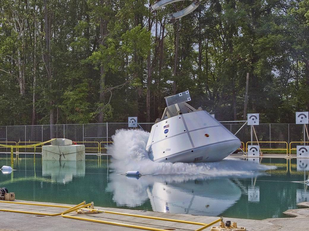 Orion splashes down in the test facility