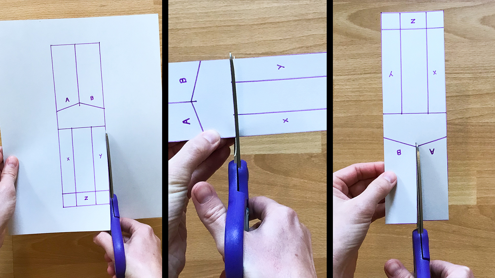 Cutting the dashed lines on the paper helicopter template