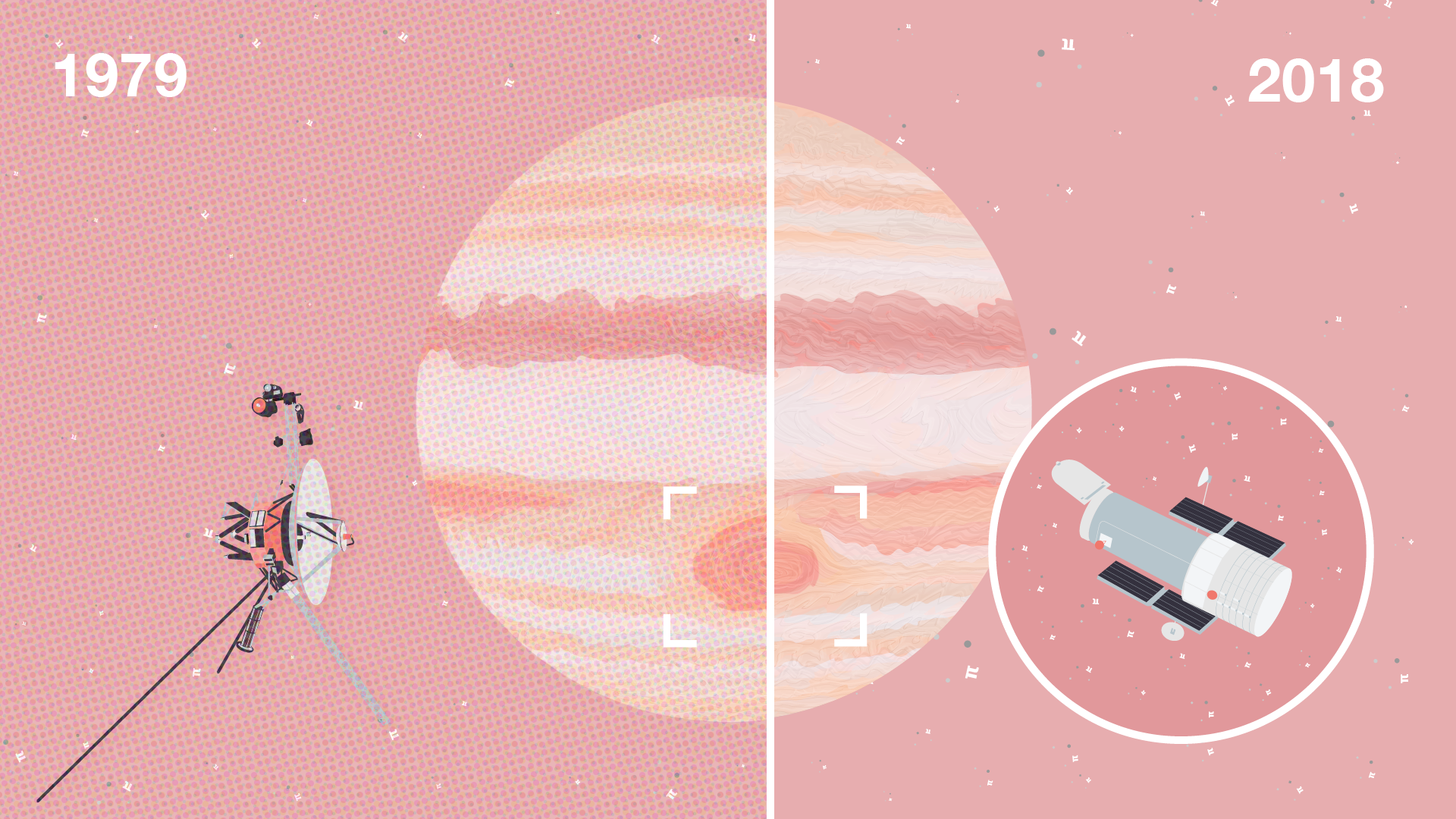 Illustration showing Jupiter and its great red spot in 1979 with the Voyager spacecraft flying by on one side. On the other side, Jupiter's great red spot is smaller and an inset shows the Hubble Space Telescope imaging the planet.