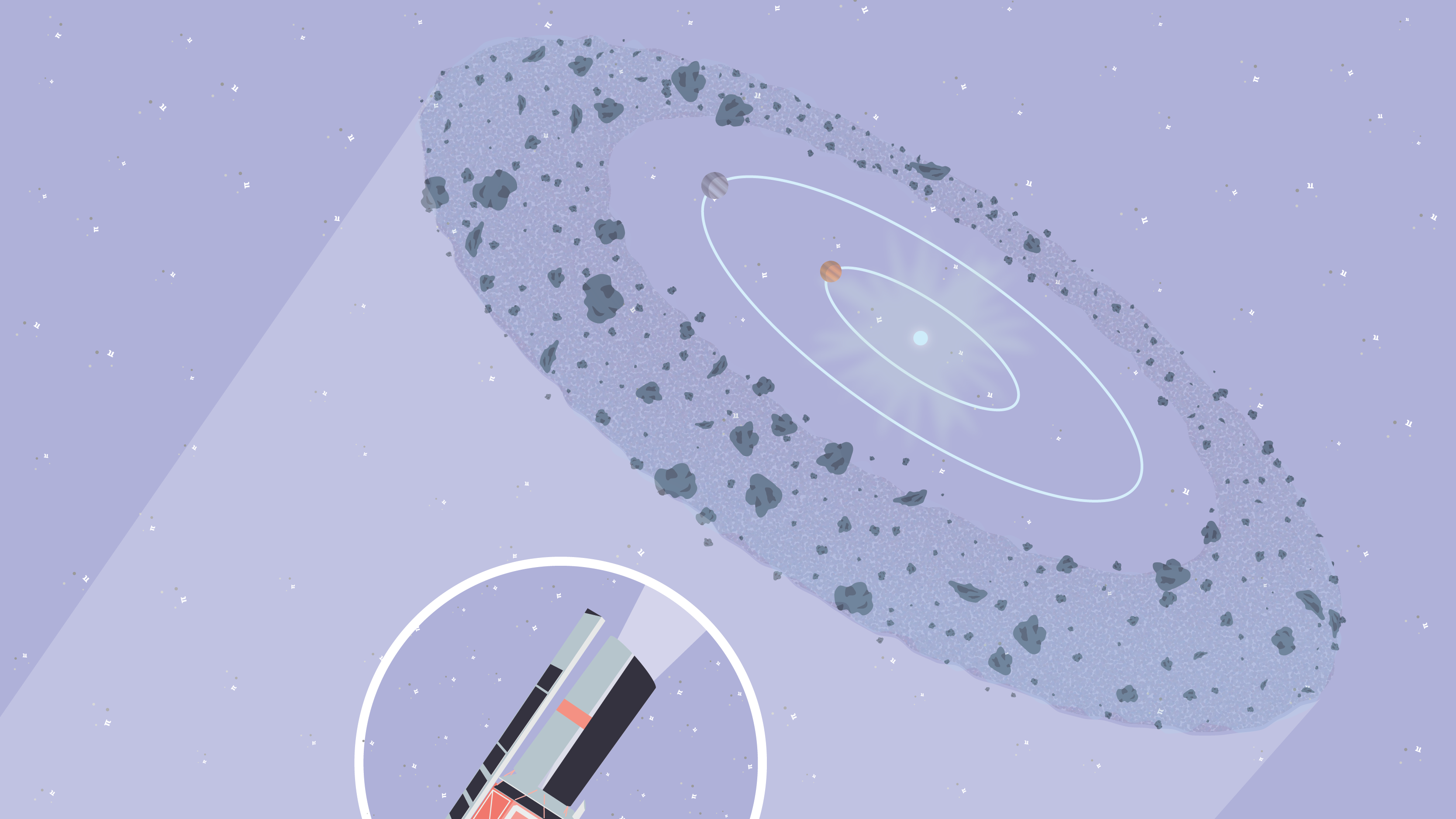 Illustration of two planets orbiting the star Beta Pictoris surrounded by a disk of debris. An inset illustration of the Spitzer space telescope shows a triangular beam representing the spacecraft's view of the disk