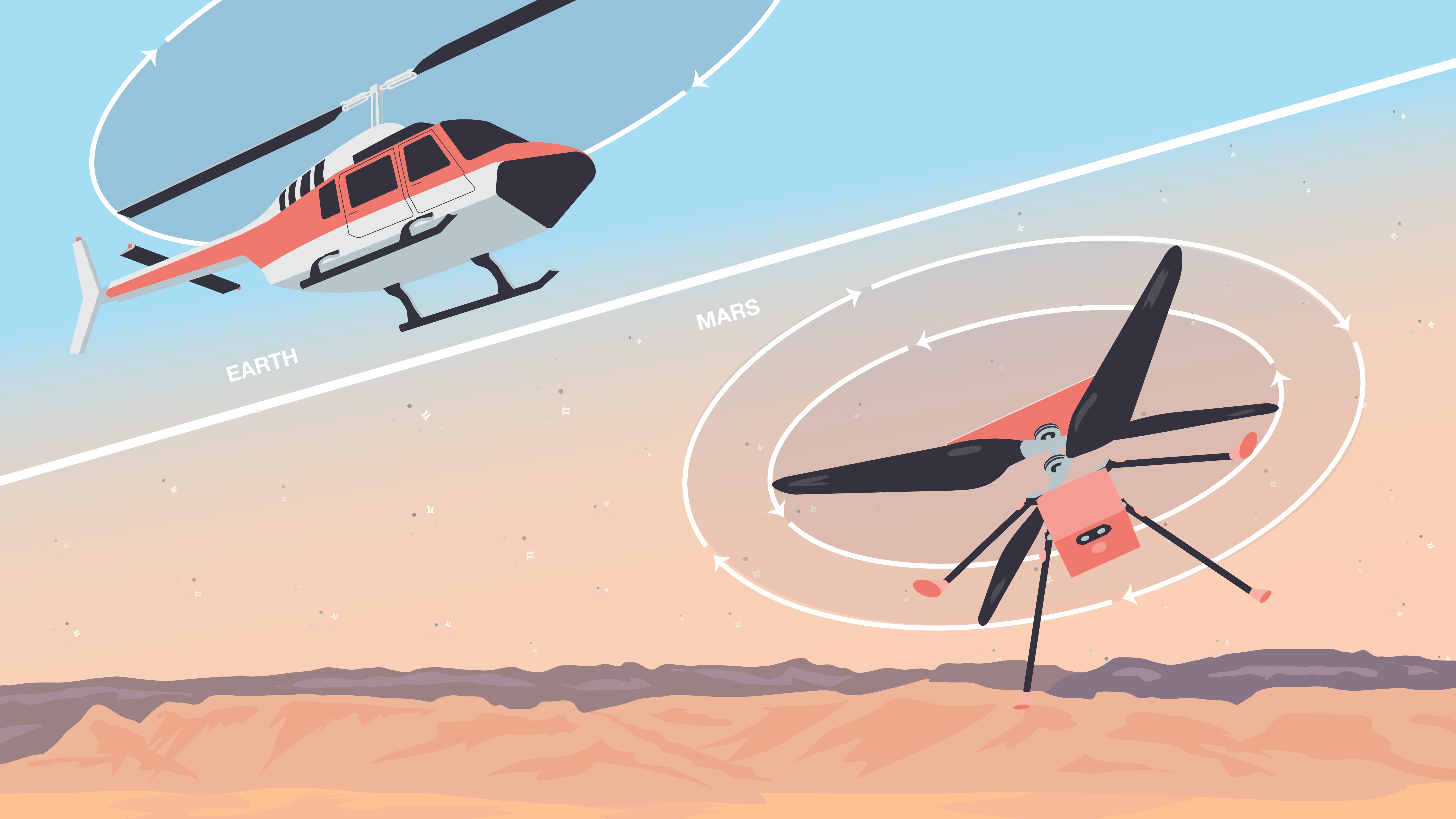 Illustration (split-screen) of helicopter on Earth flying compared with Ingenuity flying on Mars.