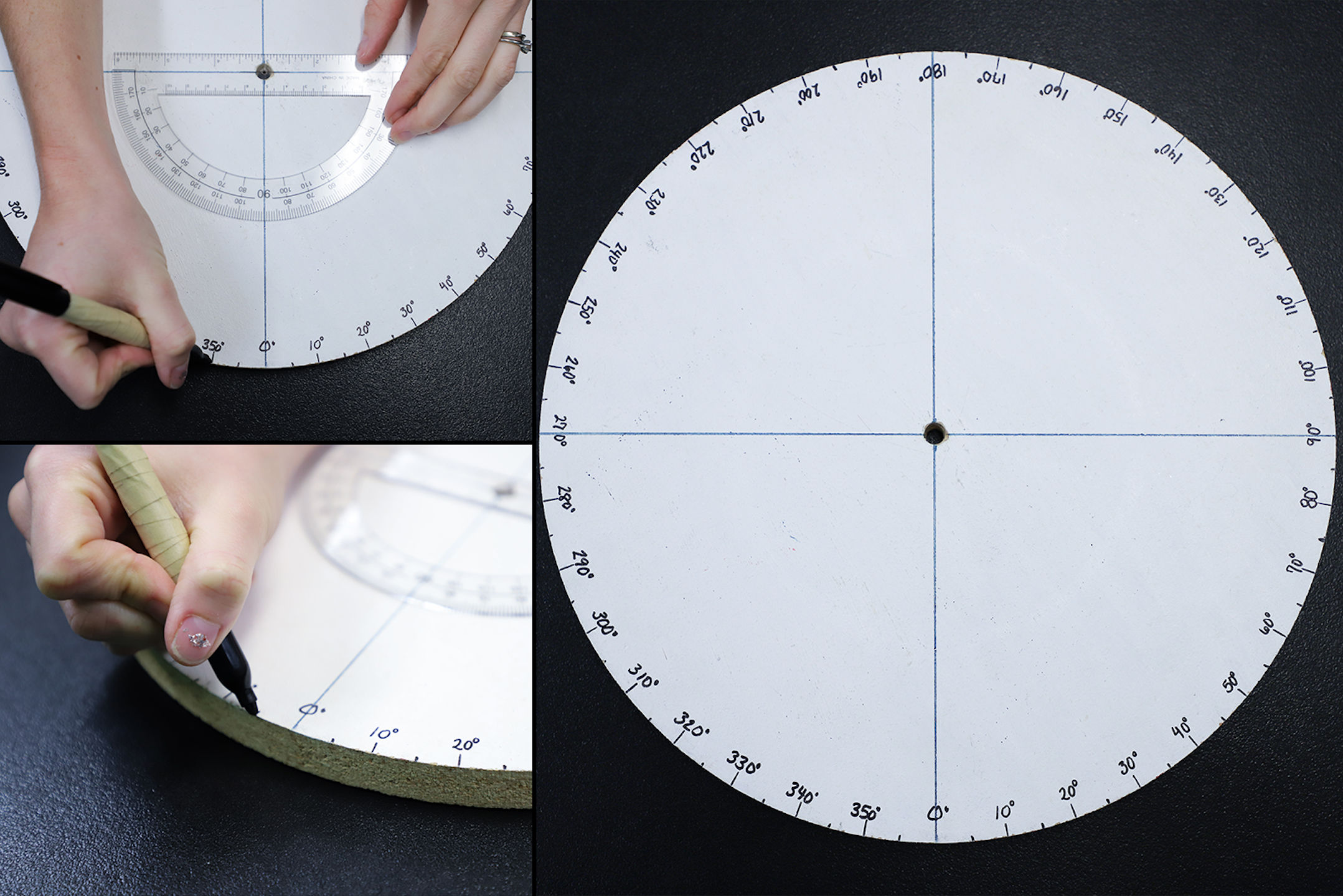 Collage of images showing the calibrated scale being made