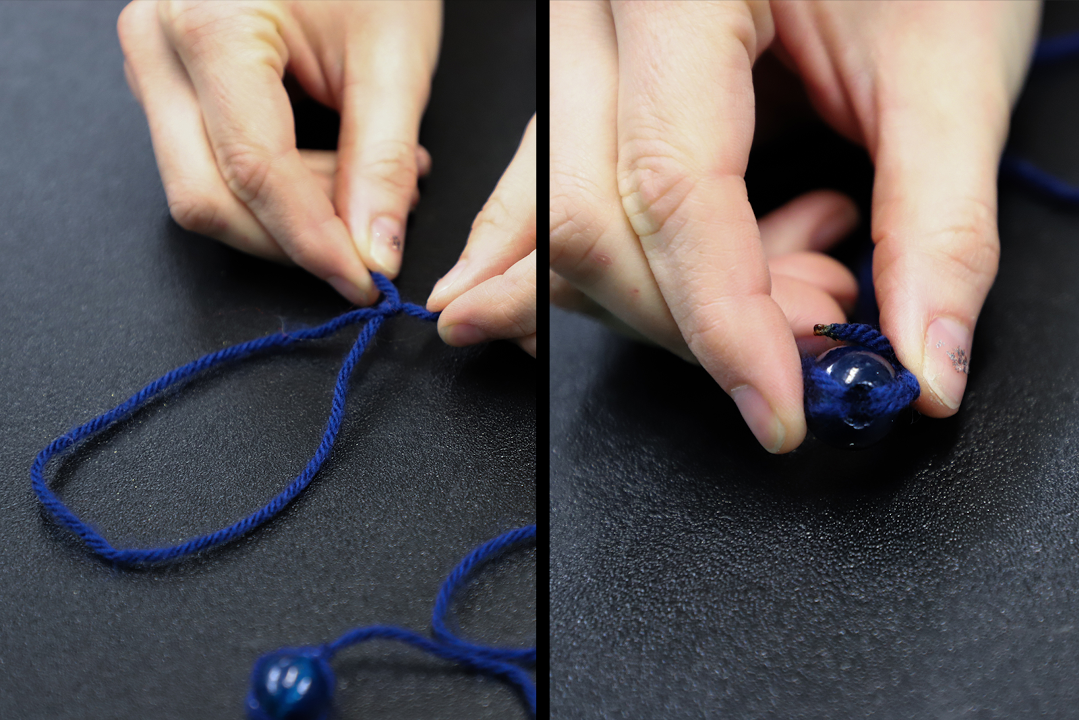 Making a loop at one end of a piece of string and attaching a bead to the other end.