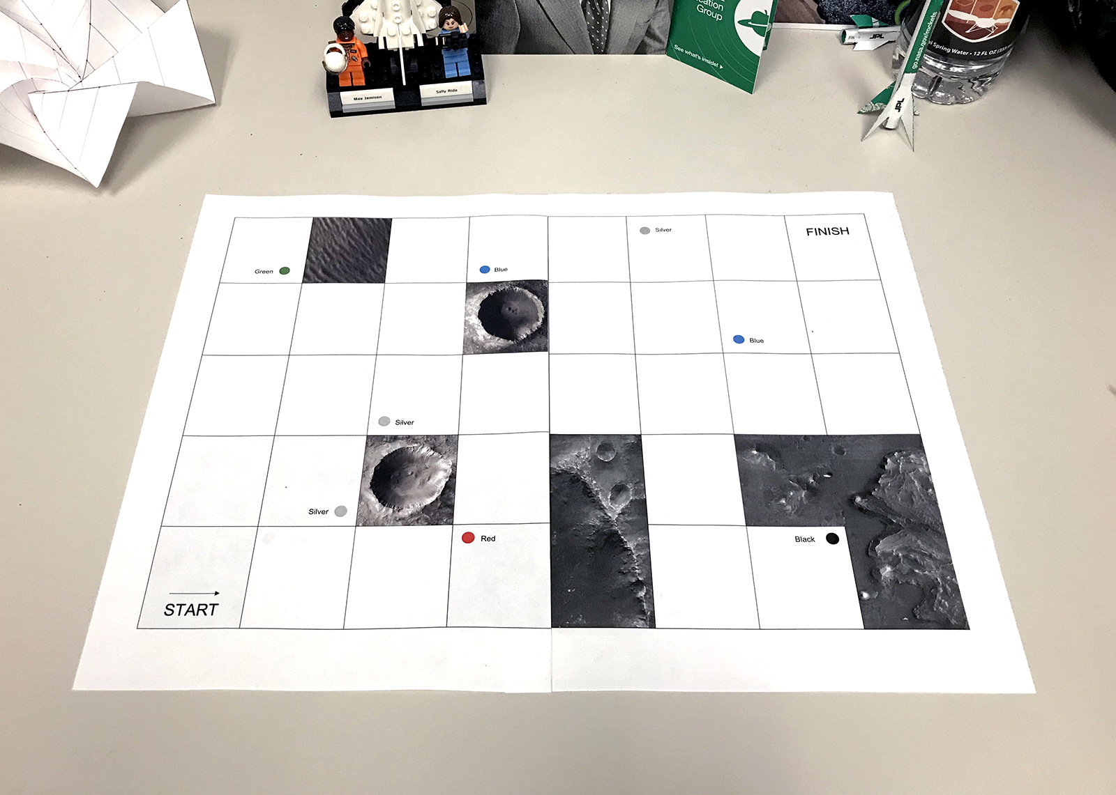 Photo of the two pages from the game board document taped together side by side