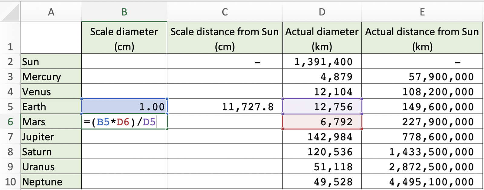 Spreadsheet screengrab of Step 7 showing the formula =(B5*D6)/D5 being added.