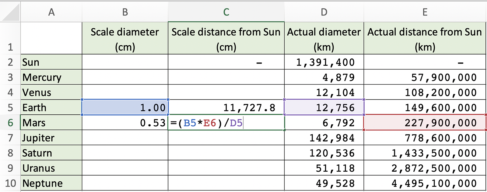 Spreadsheet screengrab of Step 8 showing the formula =(B5*E6)/D5 being added