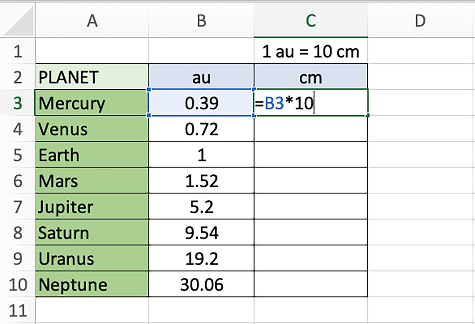 Spreadsheet screengrab of Step 4