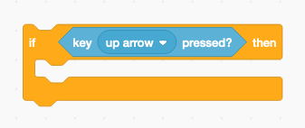 Scratch code block key up arrow pressed nested inside if then block