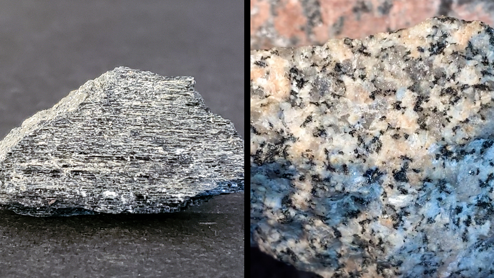 Hornblende is blackish-gray and more homogeneous while granite is pinkish-white and more heterogeneous.