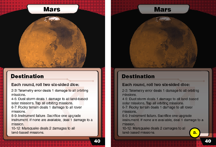 Mars Destination Card with exploration value of 40 highlighted