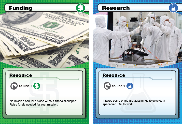 Green funding and blue research resources cards shown side by side.