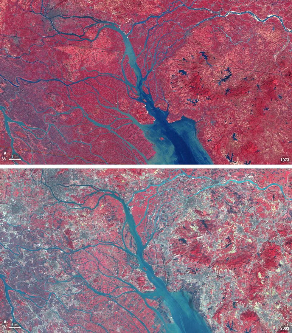 Infrared satellite image of the Pearl River Delta, China, in 1973 vs. 2003