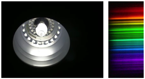 light source and view through the spectrometer
