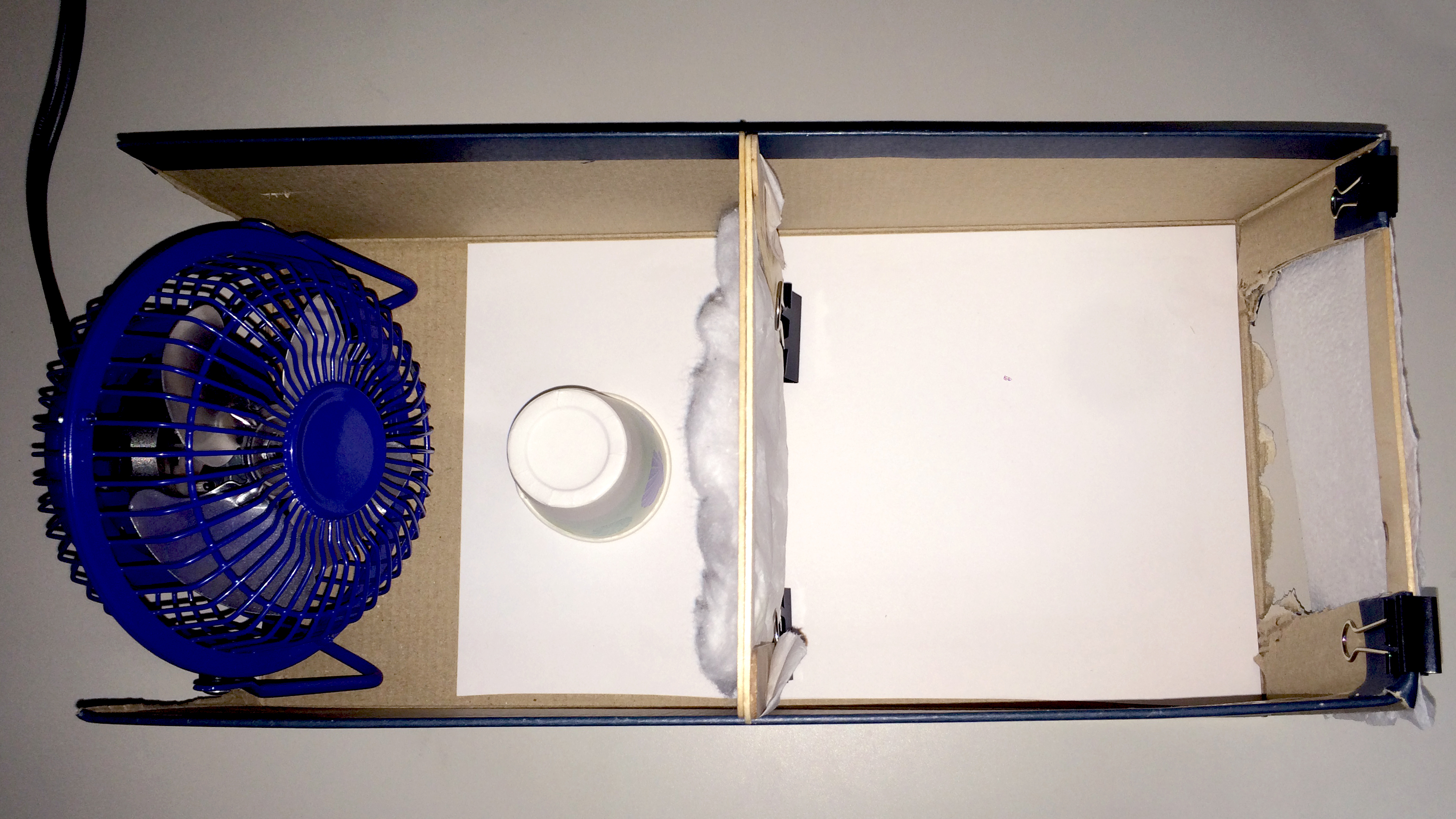 Photograph showing how to set up the testing apparatus