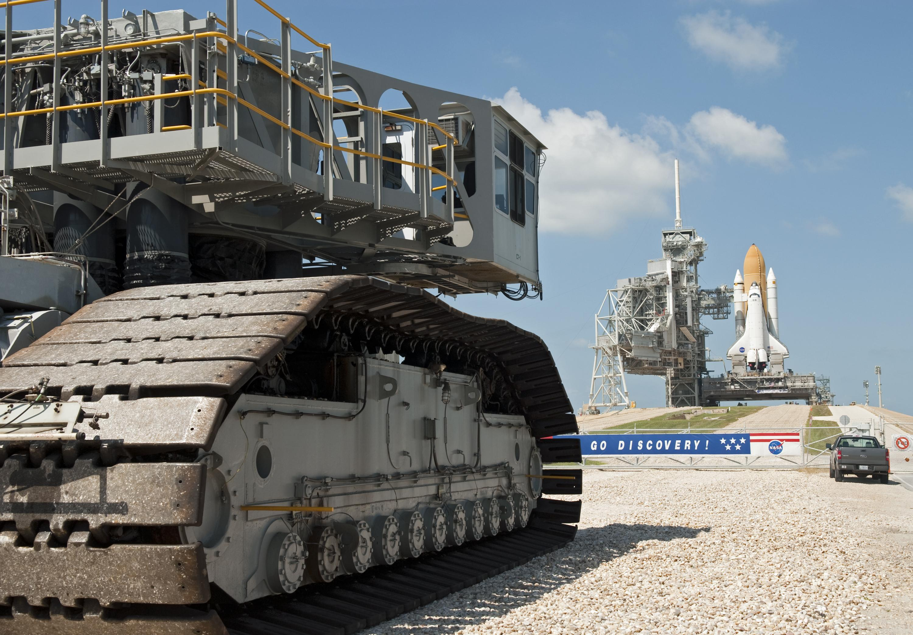 Closeup of NASA's crawler-transporter for carrying rockets to the launch pad