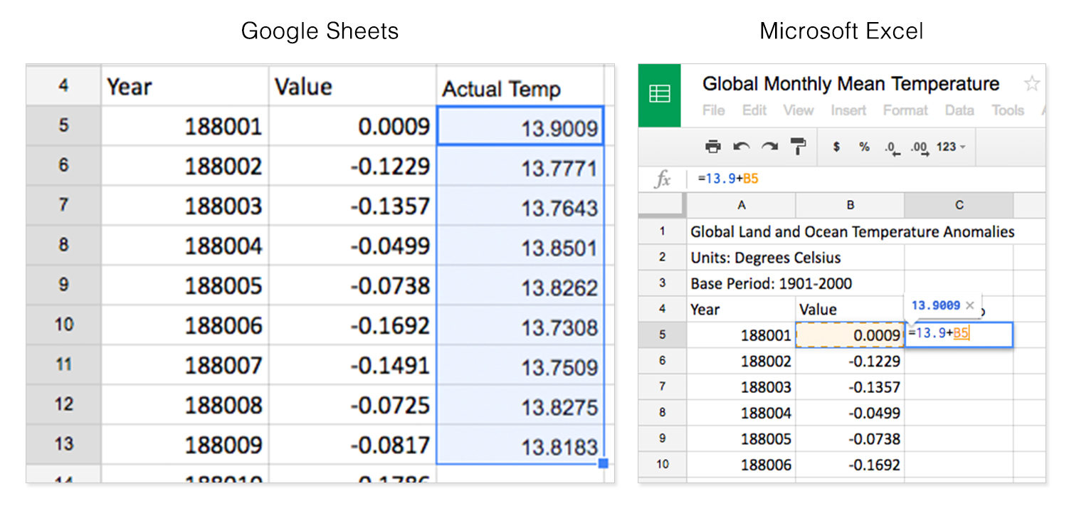 screen grabs of Excel and Google Sheets showing step 9