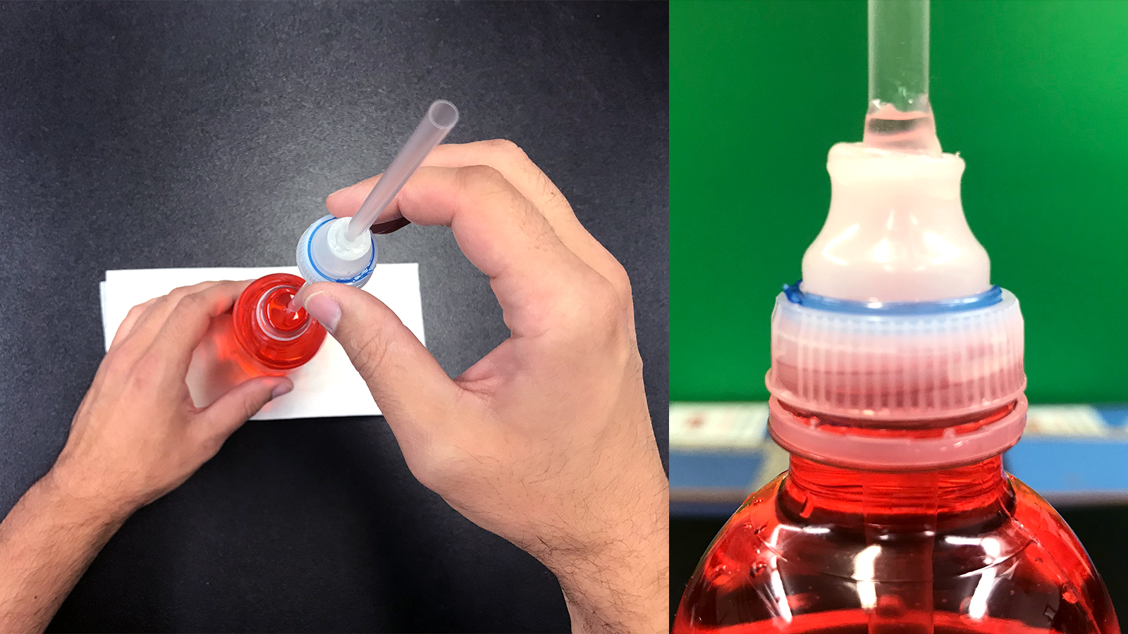 Attaching the cap to the water bottle