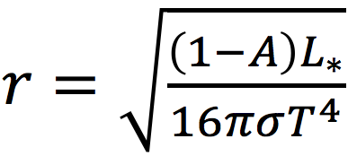 Habitable Zone formula