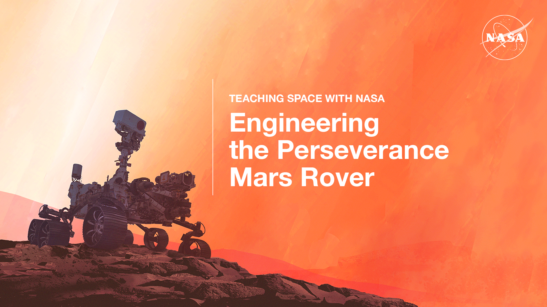 Graphic showing the Perseverance rover on Mars