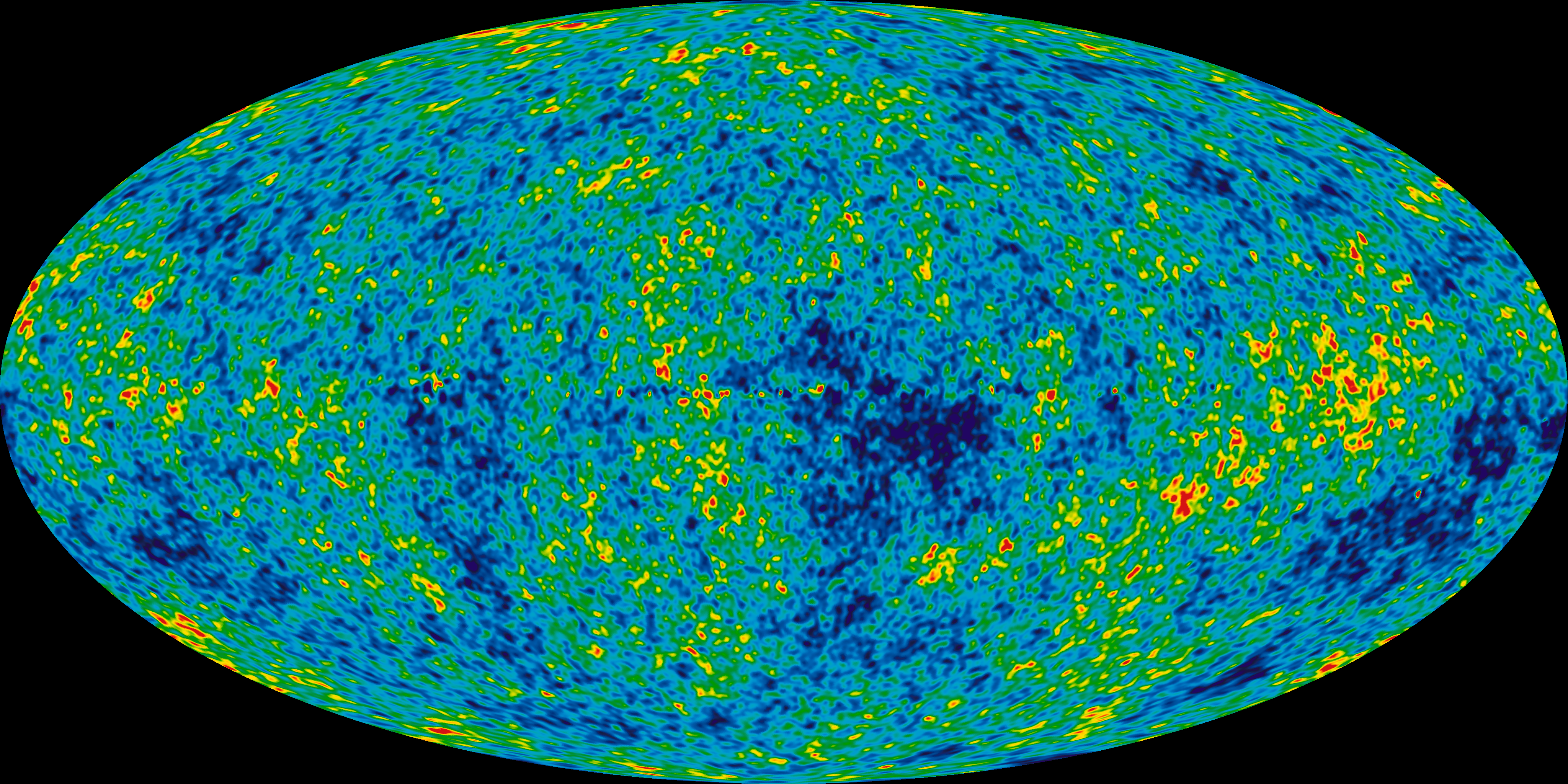 An ellipse is filled with speckled dark blue, green, and small yellow and red splotches.