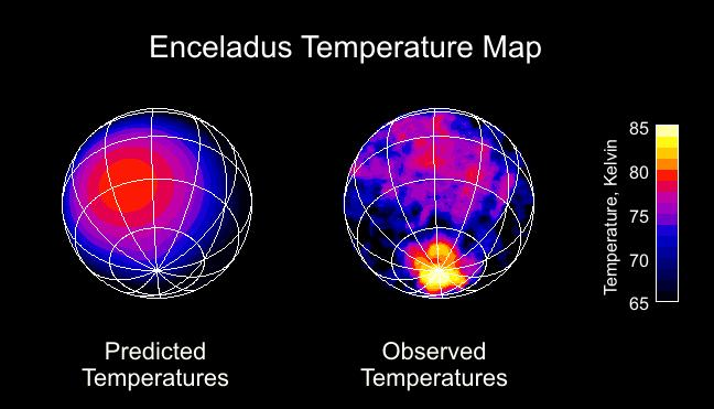 Heat map of Saturn's moon Enceladus