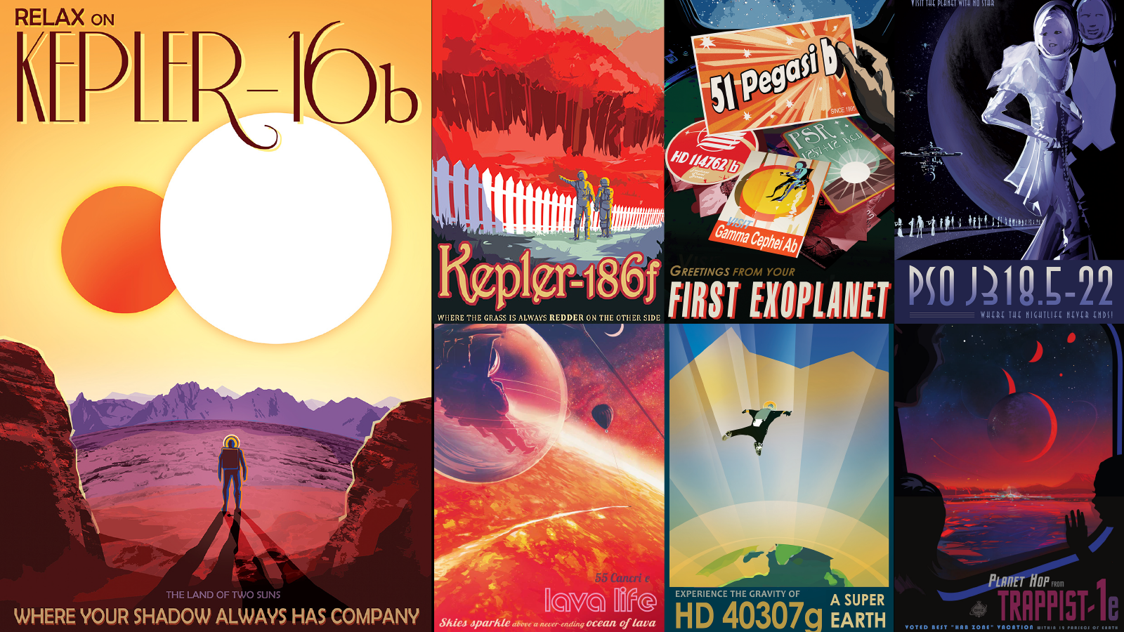 Collage of exoplanet posters from NASA