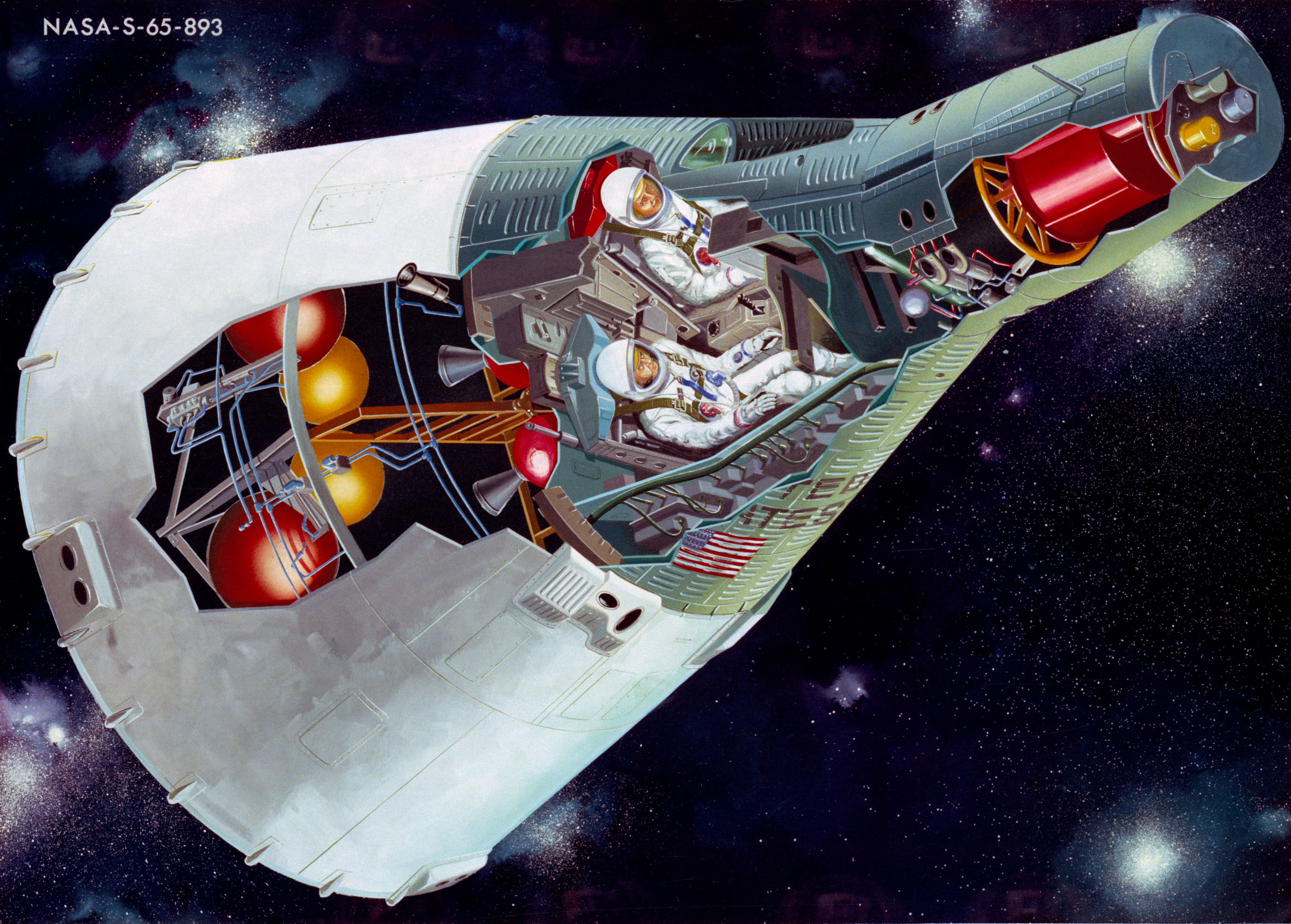 Cutaway illustration of the Gemini spacecraft with two astronauts inside.