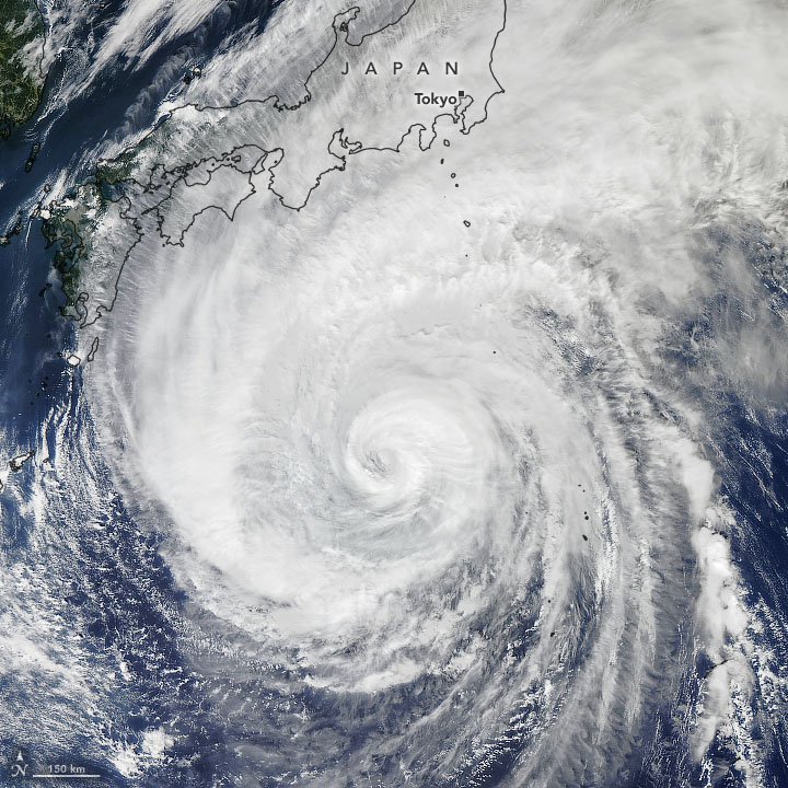 Satellite image of a hurricane heading towards Japan