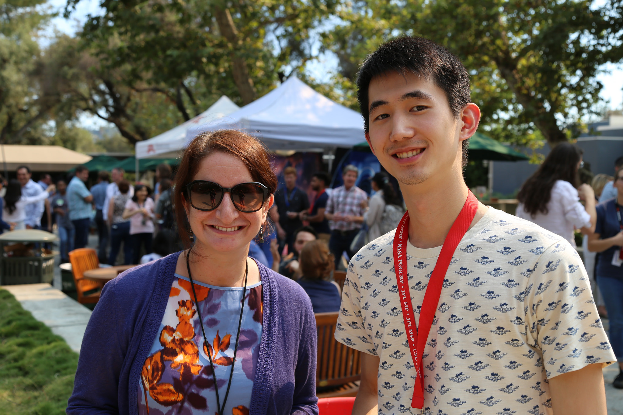 Christopher Jia-Kuan Yen poses with his mentor, Abigail Fraeman, during a mentor appreciation event held at JPL