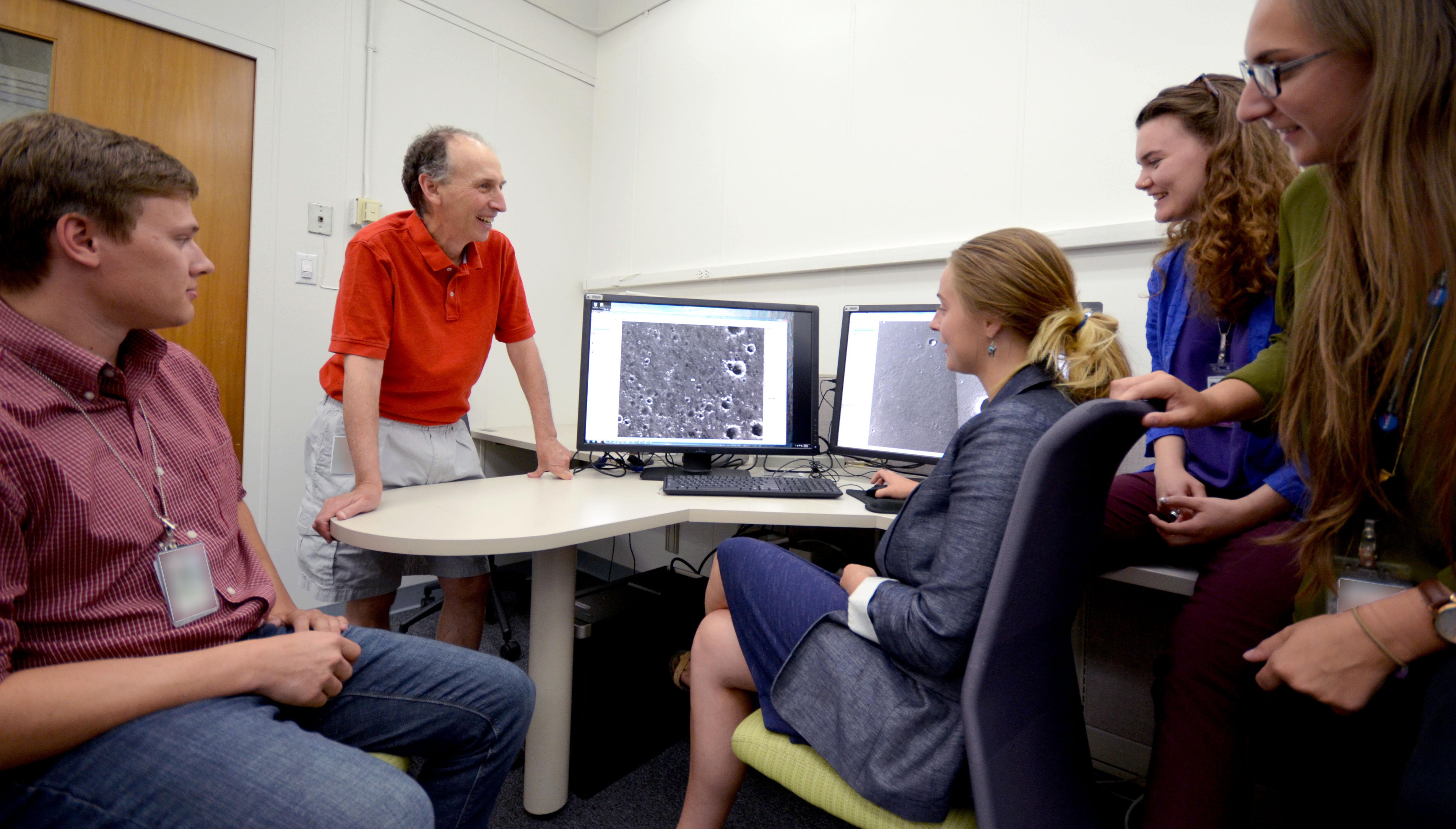 Scientist Matt Golombek with his summer interns at NASA's Jet Propulsion Laboratory
