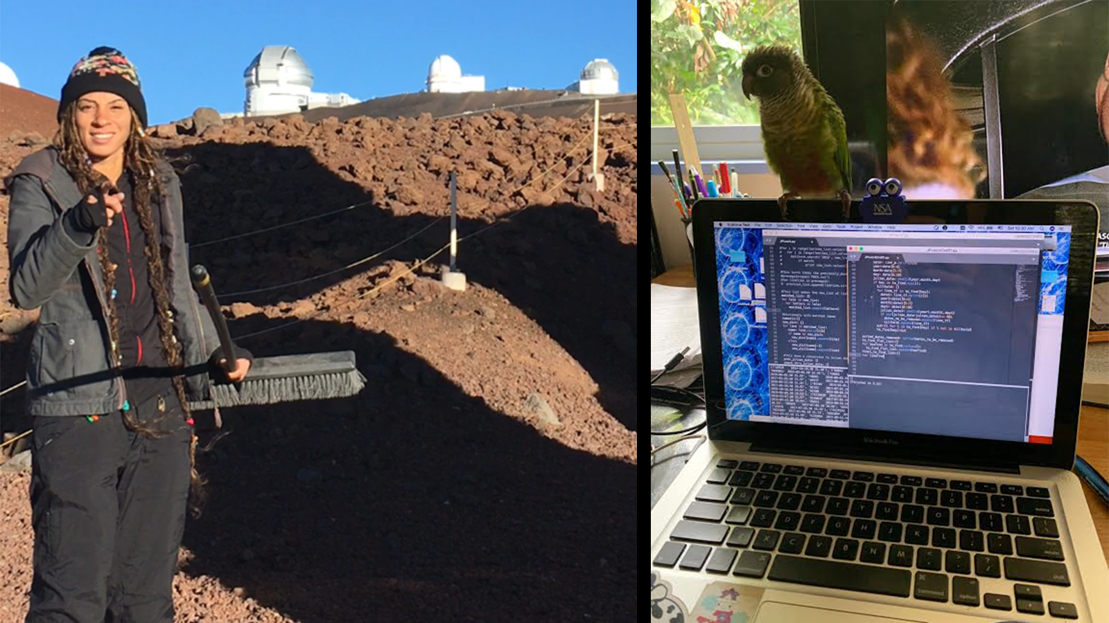 In the image on the left, Jennifer Brag stands in front of a series of observatories. In the image on the right, her bird is pirched on top of open laptop.