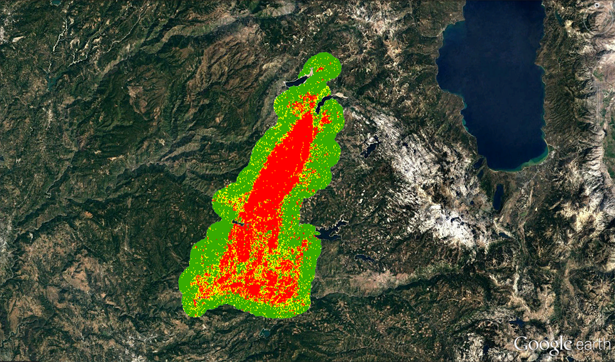 Google Earth image showing fire severity