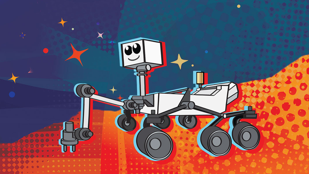 Cartoon graphic of the Mars 2020 rover against a colorful retro background