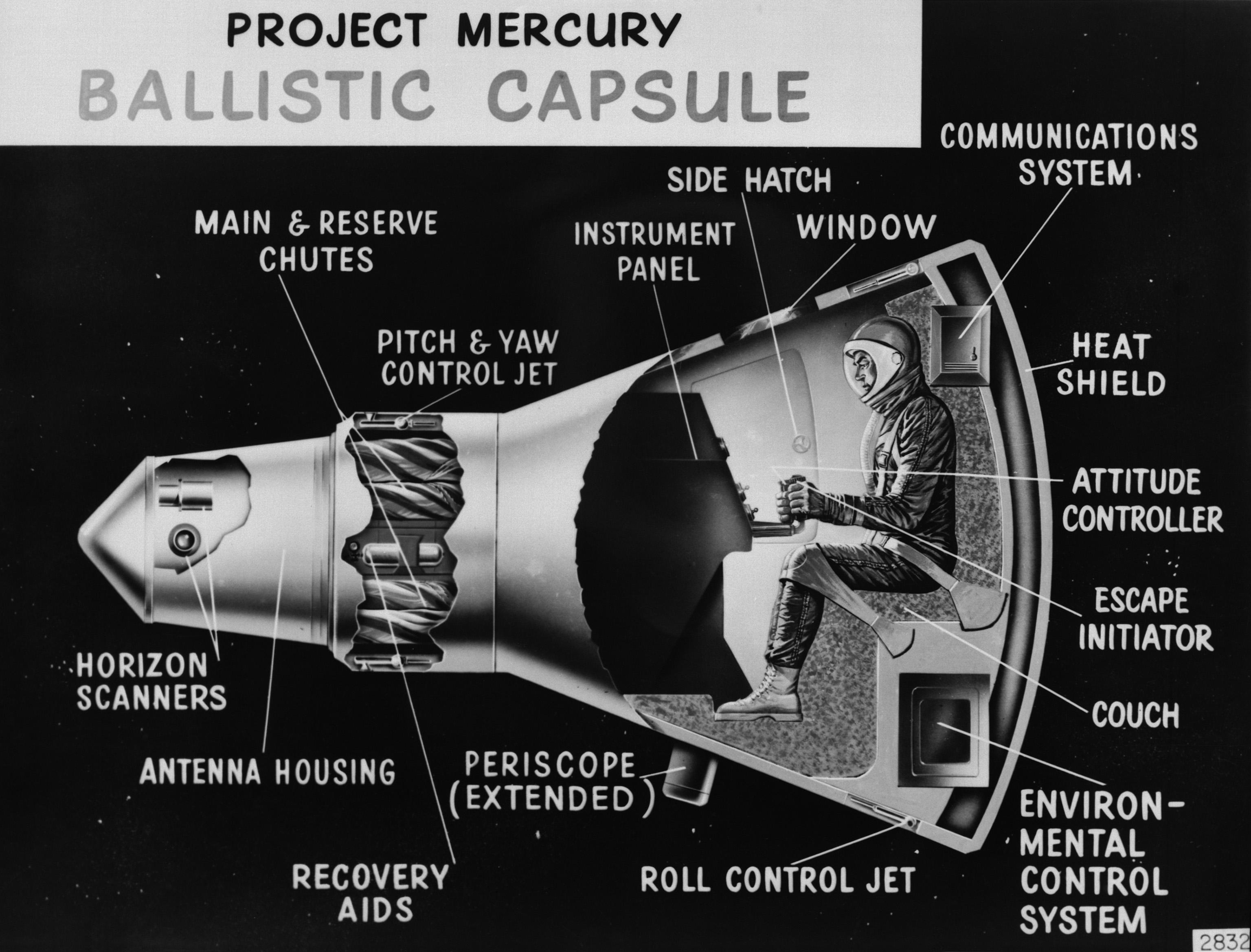 Cutaway illustration of the Mercury capsule with a single astronaut inside.