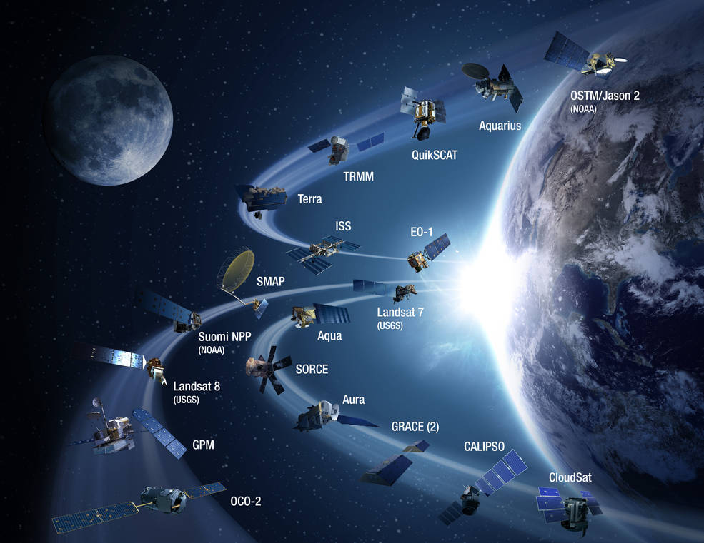 Artist's concept of dozens of satellites circling Earth with a glare from the Sun in the background