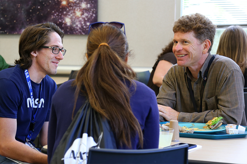 NCAS students networking during lunch at JPL