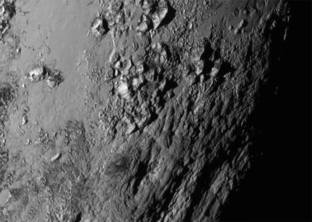 Animation showing a close-up view of a region near Pluto's south pole